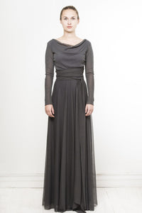 dramatic long sleeve cowl neck dress in charcoal by Lunar
