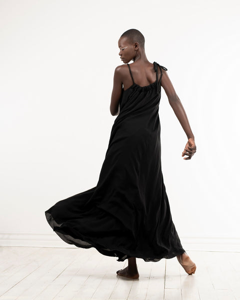 Happy dress - full length black maxi dress by Lunar