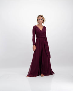ethereal long sleeve helena dress in burgundy by Lunar