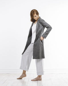 sleek wool herringbone coat by Lunar