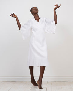 white linen kimono wrap dress by Lunar