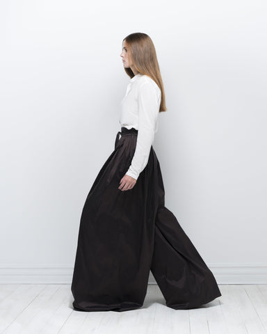 silk dupion pleated trousers - chocolate