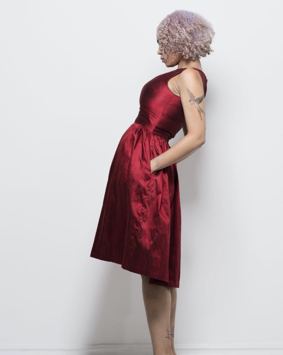 pure silk zoe dress in red by Lunar