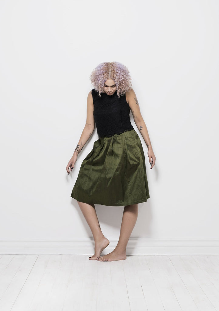 Dupion silk skirt - forest green
