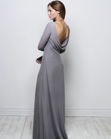 Long sleeve cowl back dress - blue mist
