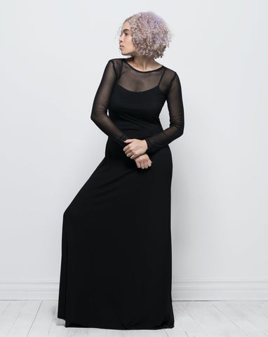 Long sleeve spaghetti strap dress - black