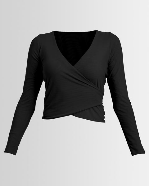 mesh ballet wrap top  - black