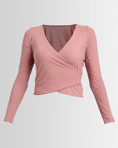 mesh ballet wrap top  - rose