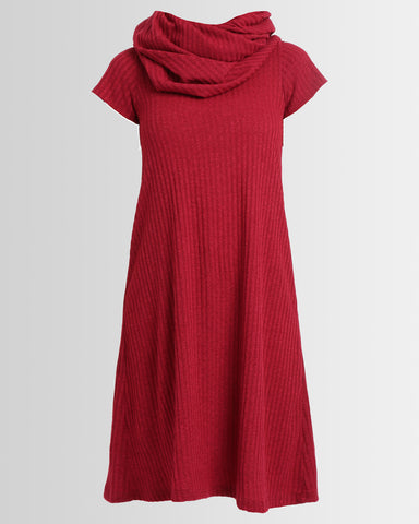 oversized cowl knit dress - red