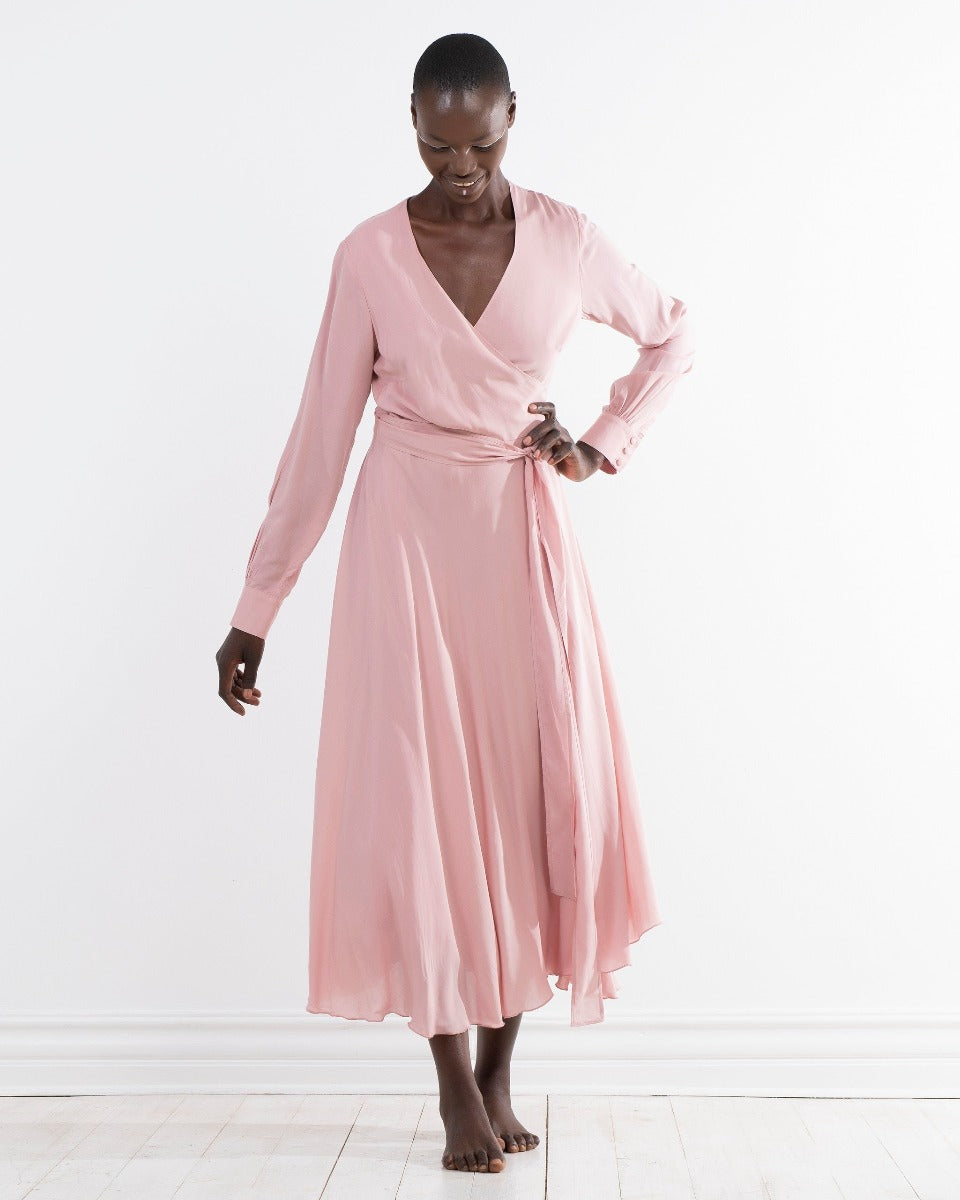 l/s rayon wrap dress - rose