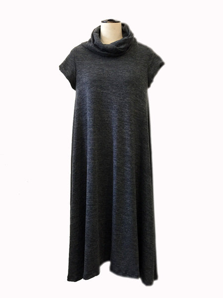 twist neck knit dress - dark grey