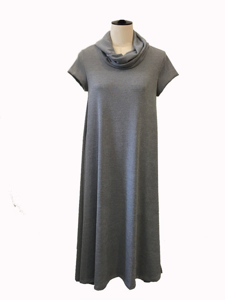 twist neck knit dress - light grey