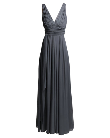 effortless long v-neck empire dress in charcoal by Lunar
