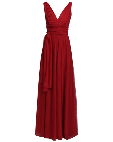 effortless long v-neck empire dress in red by Lunar