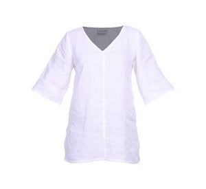 v-neck linen top - white