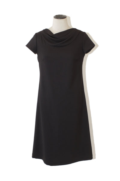 draped neck wool dress - black