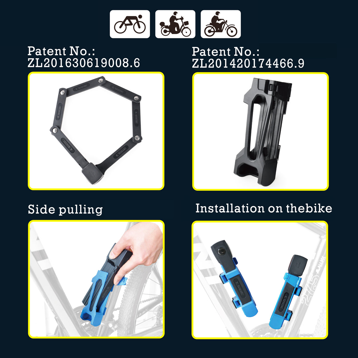 Adsafe New Foldable Lock for NAKTO ebikes - Nakto e-bike