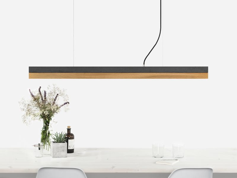 [C1] Concrete & Oak Pendant Light  Medium 122CM