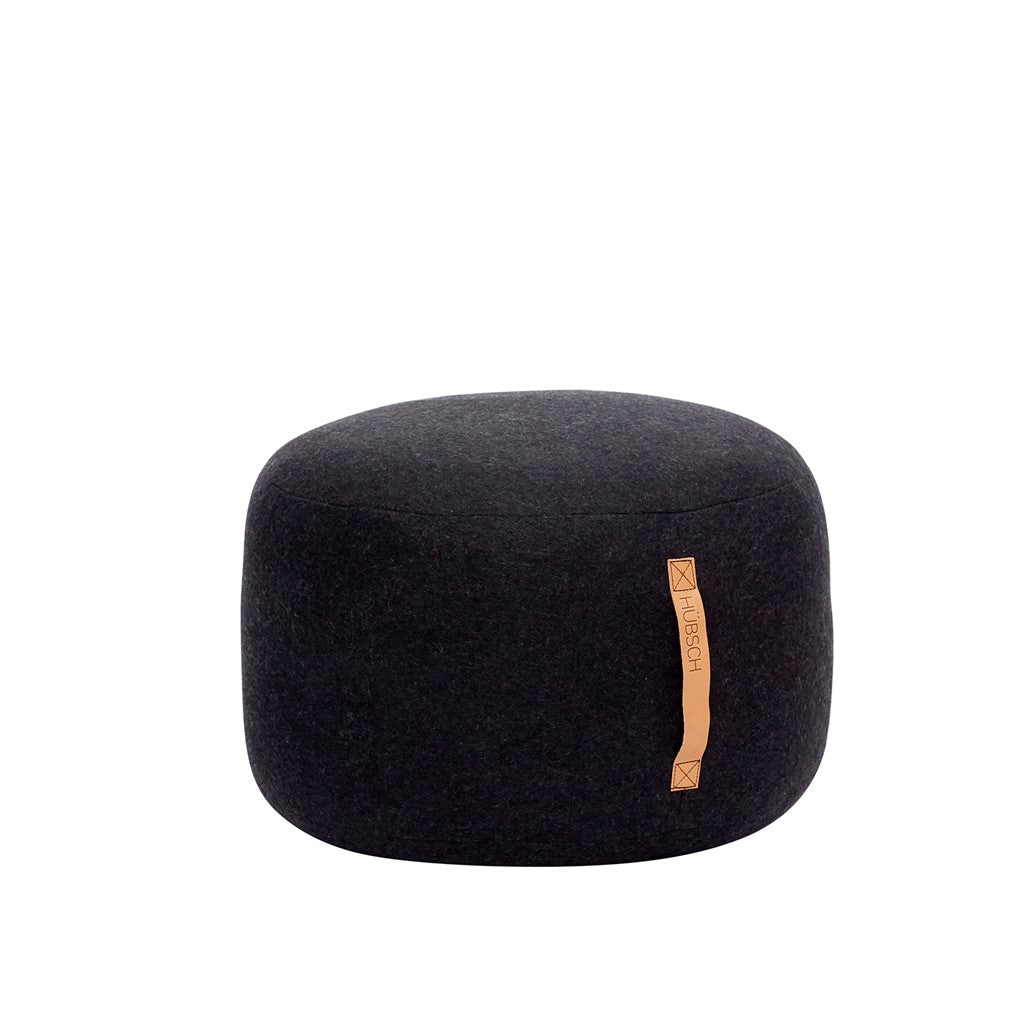 Hübsch Round Pouf with Leather Strap ø50