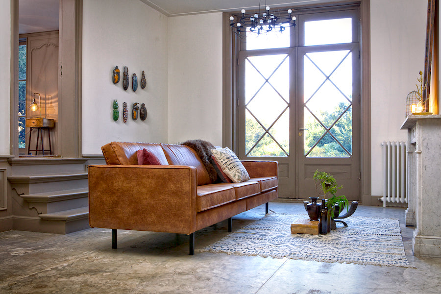LOFT Cognac Leather Sofa 277CM, 20 - 25 Day Delivery- D40Studio