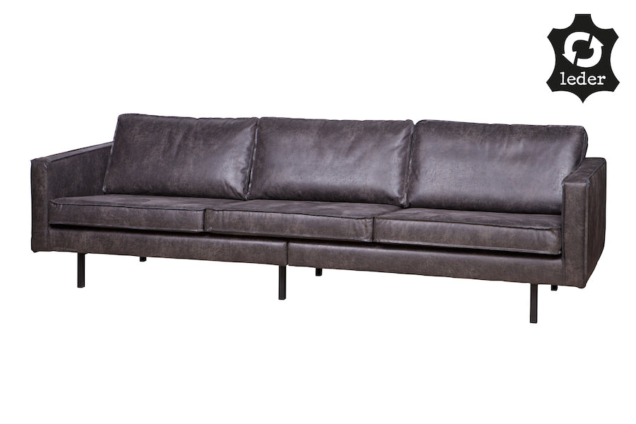 LOFT Black Leather Sofa 277CM, 20 - 25 Day Delivery- D40Studio