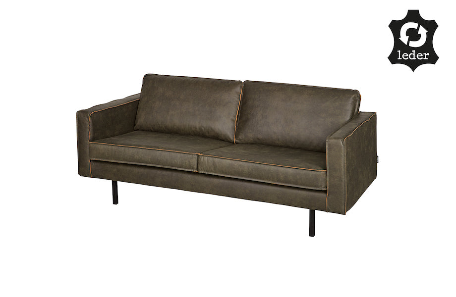 LOFT Army-Green Leather Sofa 190CM, Next Day Delivery- D40Studio