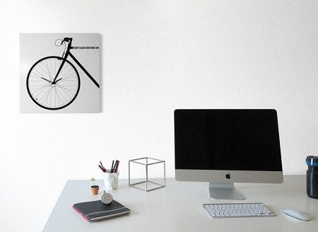 BIKE Wall Clock, White 50 CM & 80 CM, dESIGNoBJECT- D40Studio