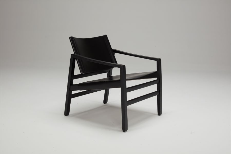 LOKE Leather Black Oak Armchair