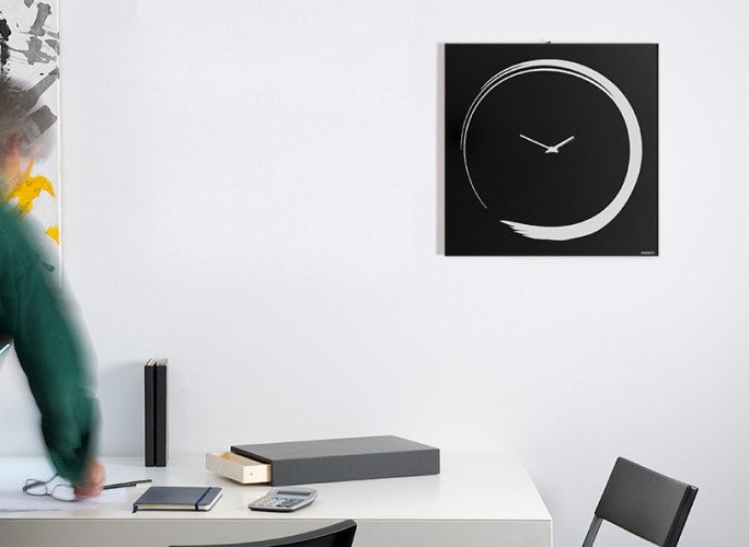 S-ENSO Wall Clock, Black, 50 CM, dESIGNoBJECT- D40Studio