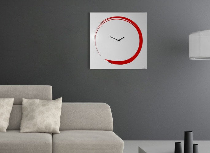 S-ENSO Wall Clock, Red, 50 CM, dESIGNoBJECT- D40Studio
