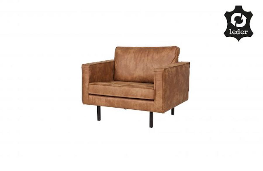 LOFT Cognac Leather Armchair 105CM, 20 - 25 Day Delivery- D40Studio