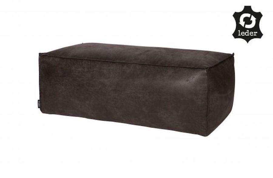 LOFT Black Leather POUFFE 120CM, 20 - 25 Day Delivery- D40Studio