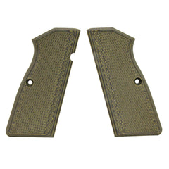 G-10 Tactical Pistol Grips - Browning Hi Power, Checkered, Green-Black