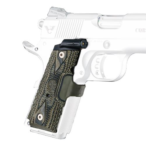 Laser Enhanced Grip - Red Laser, Officers Model 1911 Piranha Grip G10, G-Mascus Green