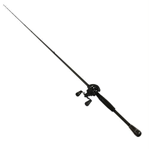 Custom Black LFS Baitcasting 1 Piece Combo - 7.5:1 Gear Ratio 20 lb Max Drag, 7' Length, Medium Power, Left Hand
