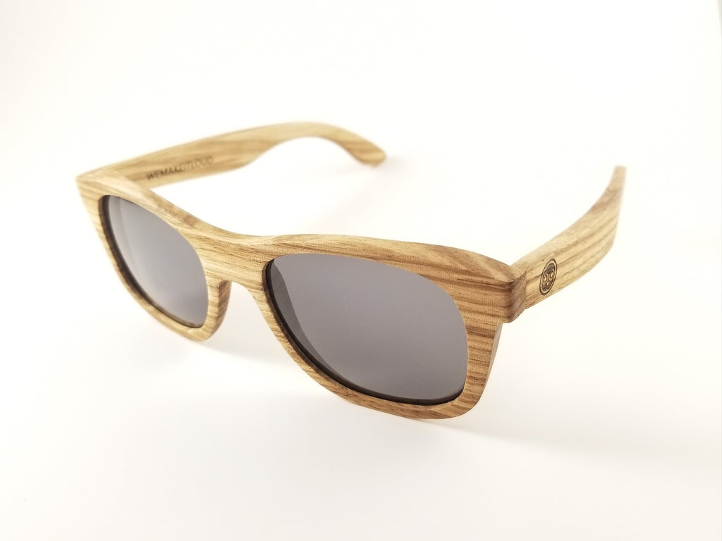 Zebra Wood Wayfarer Sunglasses with a Polarized Gray Lens.