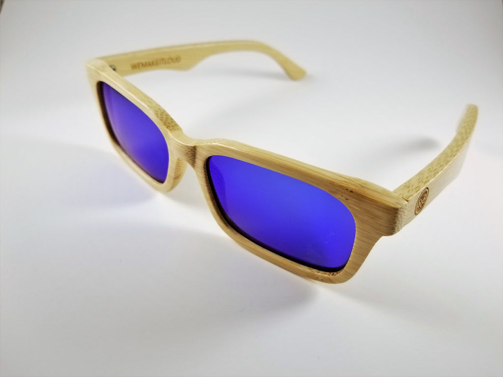 Bamboo Wayfarer Sunglasses with a Polarized Blue Mirror Lens.