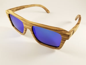 Zebra Wood Wayfarer Sunglasses with a Polarized Blue Mirror Lens.