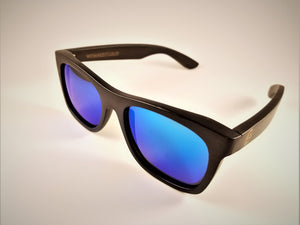 Black Bamboo Wayfarer Sunglasses with a Polarized Blue Mirror Lens