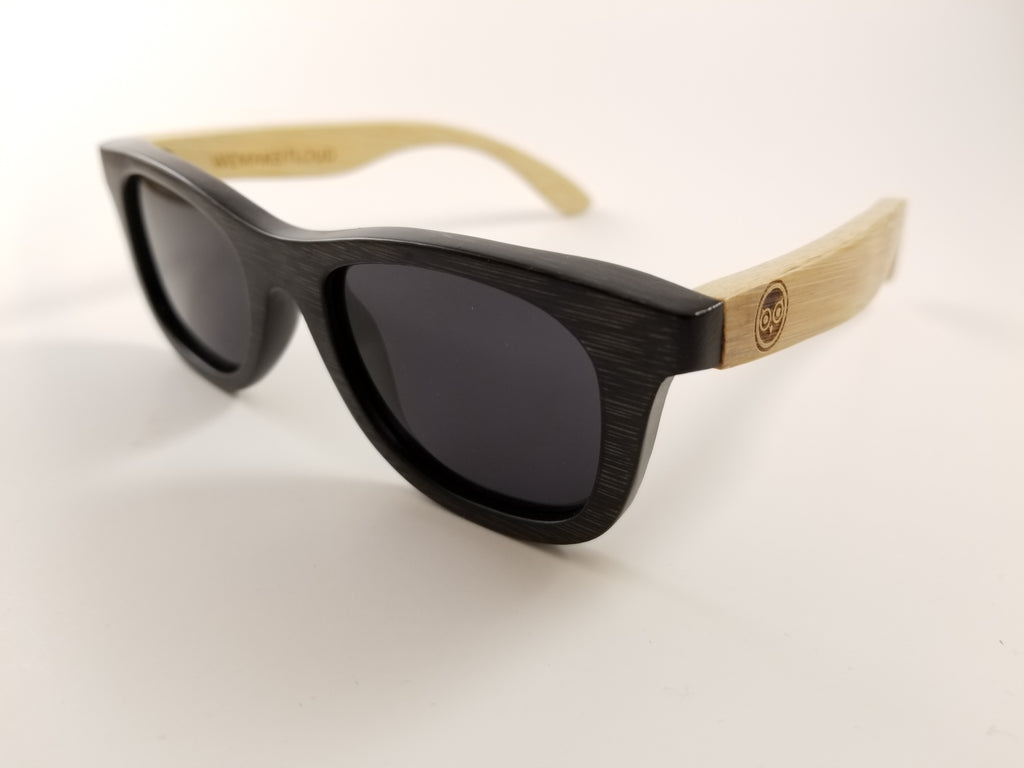 Kids Bamboo Wayfarer Sunglasses with a Polarized Black Lens