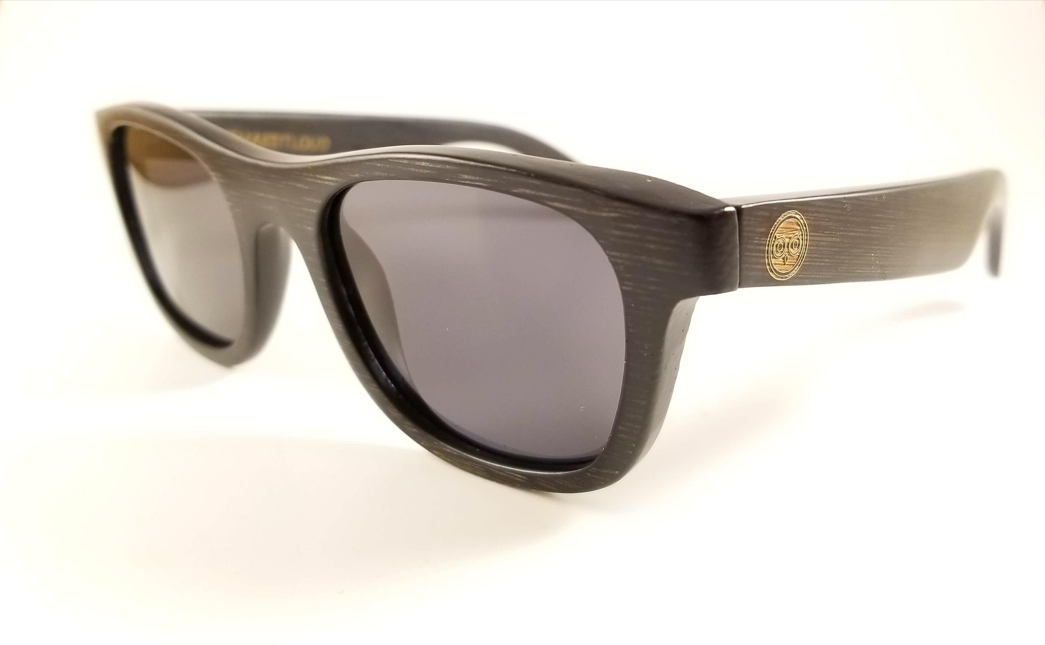 Black Bamboo Wayfarer Sunglasses with a Black Polarized Lens.