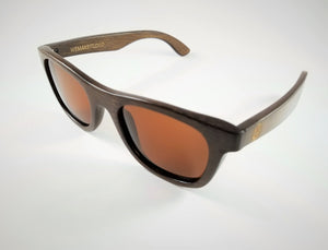 Brown Bamboo Wayfarer Sunglasses with a Polarized Brown Lens