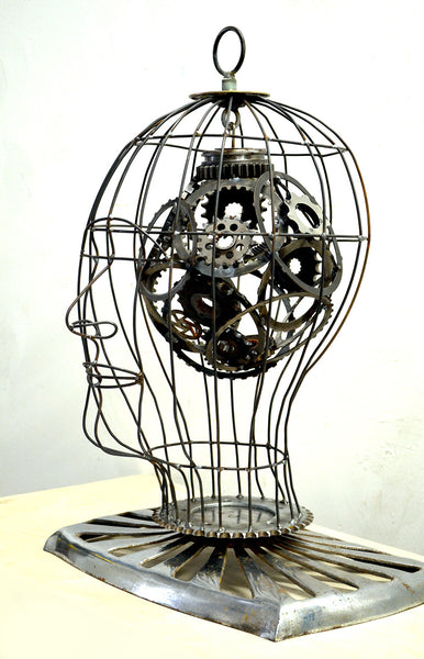 Caged Gear Man - Donald Gialanella - Sculpture