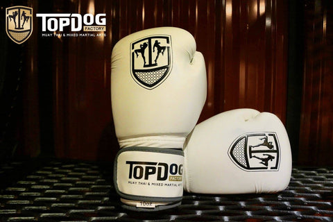 Topdog Muay Thai Gloves - White With Black Stripe - MMAoutfit