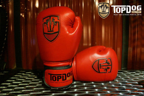 Topdog Muay Thai Gloves - Red With Black Stripe - MMAoutfit