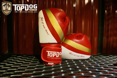 Topdog Muay Thai Gloves - Red With Gold Stripe - MMAoutfit - 1