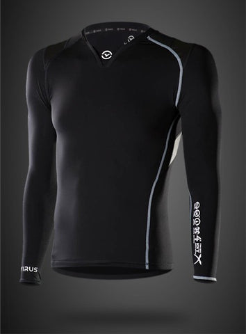 VIRUS MEN'S STAY COOL LONG SLEEVE FORM COMPRESSION V-NECK - BLACK - MMAoutfit - 1