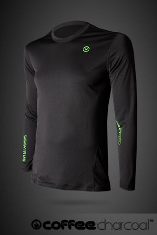 VIRUS MEN'S ALL WEATHER, ALL CONDITIONS COFFEE CHARCOAL LIGHT WEIGHT LONG SLEEVE - BLACK - MMAoutfit