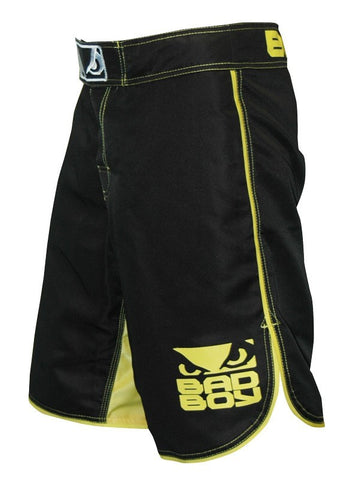 BADBOY MMA SHORTS - BLACK/YELLOW - MMAoutfit - 1