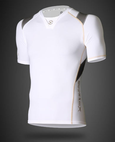 VIRUS MEN'S ENERGY SERIES BIOCERAMIC X-FORM POSTURE SUPPORT SHORT SLEEVE COMPRESSION TOP - RECOVERY + ENDURANCE - WHITE